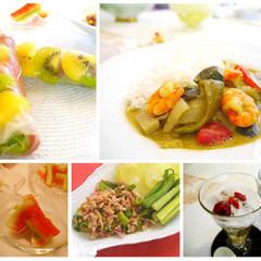 タイ料理で夏を満喫!!エビのココナッツミルクカレー、キウイの生春巻き等