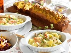 料理レッスン写真 - 簡単だから何度でも 秋鮭とキノコのマカロニグラタン、南瓜のケークサレ等