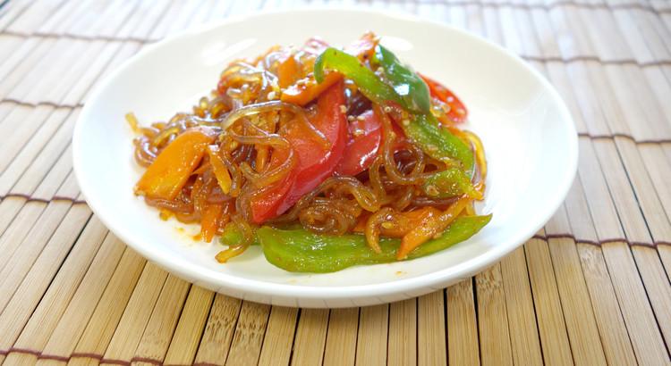【カラフル野菜のチャプチェ】もっちもち春雨と甘ピリ辛が絶妙