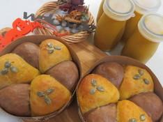 料理レッスン写真 - ランチ付☆白神こだま酵母で作るハロウィーンかぼちゃちぎりパン&プリン