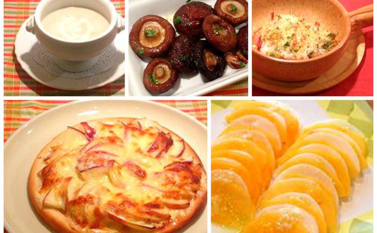 秋の食材で気軽なイタリアン♪♪キノコのポタージュ&りんごのピザetc