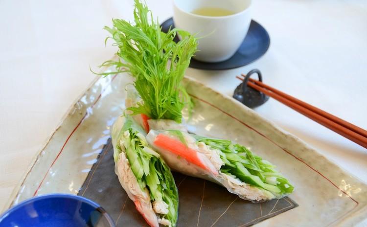 水菜が主役の生春巻きサラダ