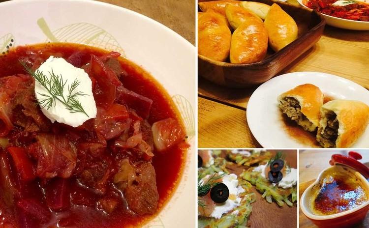 冬のロシアンディナー 野菜たっぷりボルシチと揚げないピロシキ