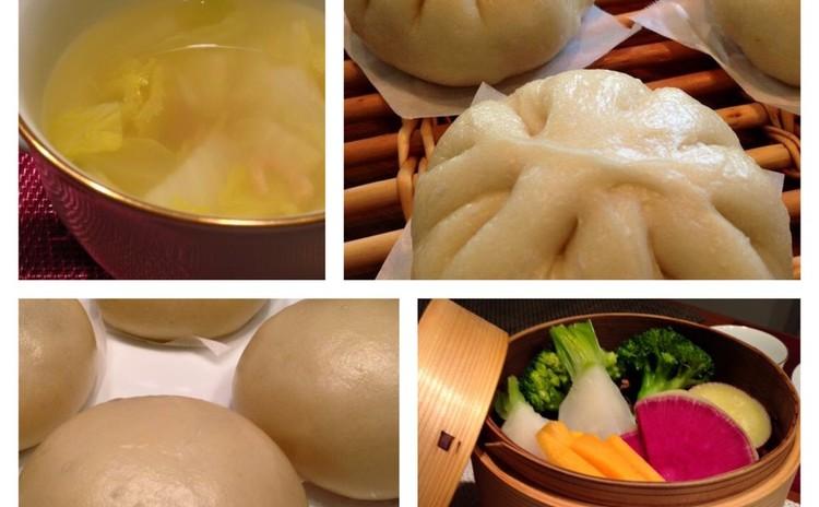 肉まんあんまん・干し海老のスープ・旬野菜の蒸篭蒸し