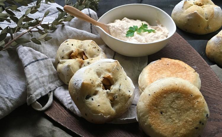 自家製酵母パン!雑穀マフィン&さつまいも雑穀あんパン、豆腐ツナディップ