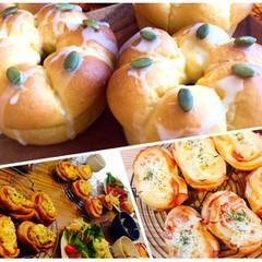 ハロウィン①★可愛いかぼちゃのちぎりパン&ランチはハムのお惣菜パンで。