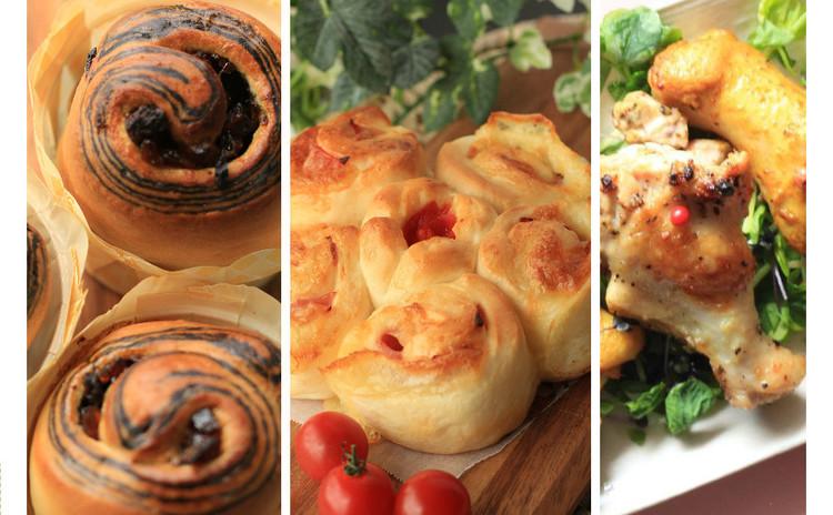 可愛いガッツリ♡ハムチーマヨのちぎりパンとココアぐるぐる&チキン2種