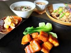 料理レッスン写真 - フライパンde角煮🎵吹き寄せご飯ときのこの春雨スープ他2品