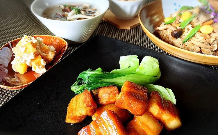 フライパンde角煮🎵吹き寄せご飯ときのこの春雨スープ他2品