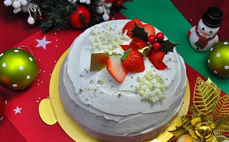 ビッグサイズの本格派! フルーツぎっしり クリスマススノードームケーキ