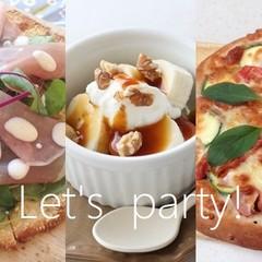 パリパリサラダピザとパンピザ2種、キャラメルデザートも♪