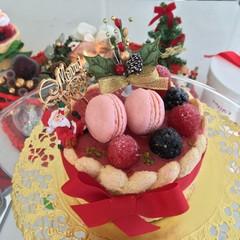 ⭐︎赤い実のシャルロット⭐︎小さなマカロンを添えたクリスマスデコで〜♫