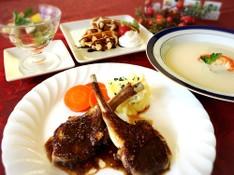 料理レッスン写真 - ラムチョップとカリフラワーのスープ♡ブリュッセルワッフルでXmas☆