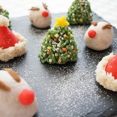 《wagasi》上生和菓子でかわいいクリスマスツリー☆サンタの帽子☆