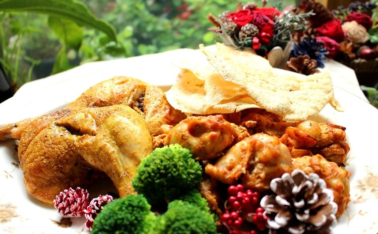 Xmas仕様骨付きインディアングリルと憧れの彩り野菜冷製テリーヌ