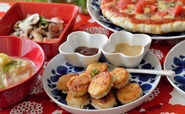 手作りピザ生地でマルゲリータ♪揚げないチキンナゲット&2種のソースも♡