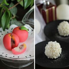 上生菓子二品「聖夜」薯蕷金団製と「林檎」練り切り製