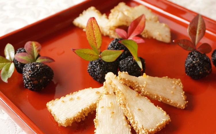 いつものおせちにプラスαで華やかに!山芋羽子板と追羽根団子・白味噌雑煮