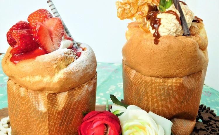 ふんわりシフォン風♡ストロベリー&キャラメルのビックカップケーキ