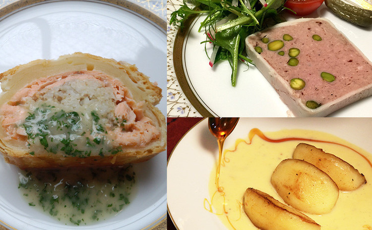 【冬のフルコース】鮭のパイ包みとオマール海老ビスクほか