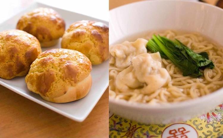 香港レトロカフェ定番☆全部粉から作る蝦ワンタン、麺、パイナップルパン