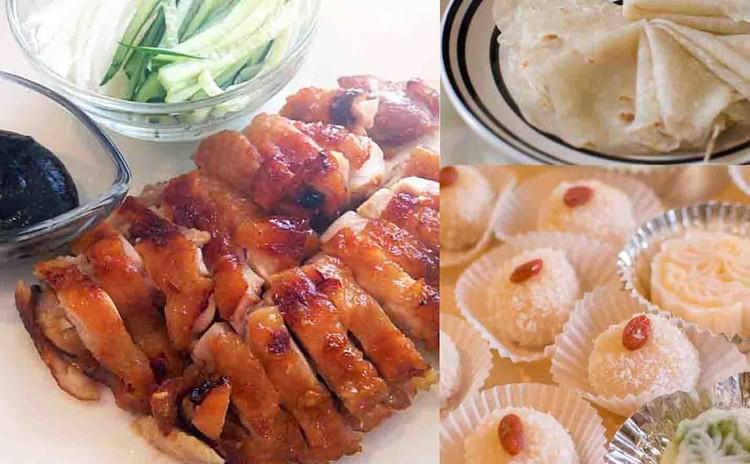 粉から作る春餅、鶏肉の焼き物&ココナッツ団子&冷たいカスタード月餅