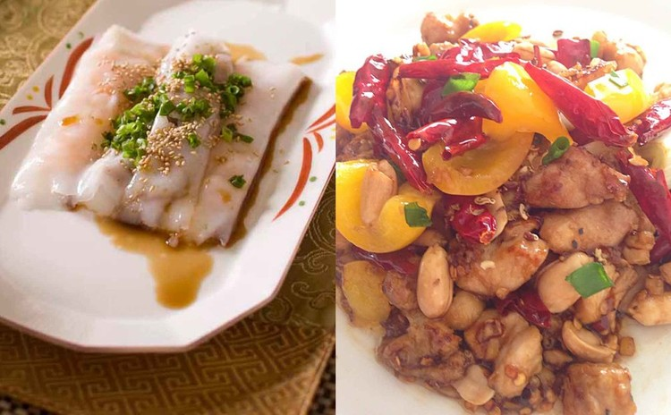 中華風クレープと四川料理の唐辛子と鶏肉の炒め物(宮保鶏丁)