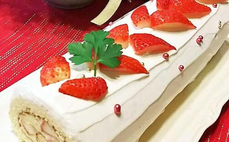 はじめてさんにも出来るイチゴとカスタードのふわふわロールケーキ ❤