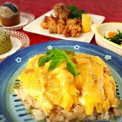 和風あんかけオムライスと鶏の竜田揚げ🎵抹茶とオレオのマフィン♡