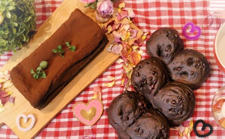 チョコチップとクランベリーのハートチョコパン&濃厚生チョコケーキ