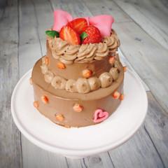 ☆ラブリーなプレゼント☆ベルギーチョコレートのポップなリボンケーキ