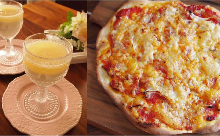 自家製塩麹トマトソースで本格派ピッッア&林檎のパンナコッタ~林檎ソース