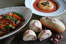 料理レッスン写真 - 春を感じる「桜餡ロールパン」と菜の花サラダ・とろとろチーズのスープ