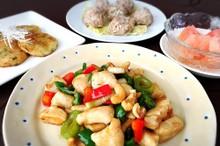 料理レッスン写真 - 鶏肉とカシューナッツの野菜炒めともやしの海老シュウマイ♪大根餅と他1品