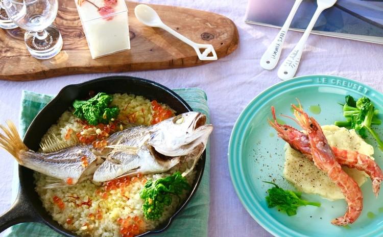 豪華で簡単!鯛のパエリア&有頭エビのグリル&お花見豆腐のブランマンジェ