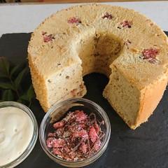 【無添加安心素材】米粉で作る桜のシフォンケーキとお豆腐生クリーム