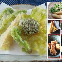 旬の山菜天ぷらと竹の子を使った定番料理をレッスン♪