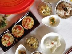 料理レッスン写真 - 【身体いたわりメニュー】梅干し炊き込みご飯、水餃子、酢大豆など