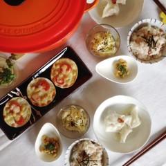 【身体いたわりメニュー】梅干し炊き込みご飯、水餃子、酢大豆など