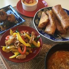 ☆乾し椎茸♫春雨入り春巻き♫甘酢団子♫カラー青椒肉絲&担々麺