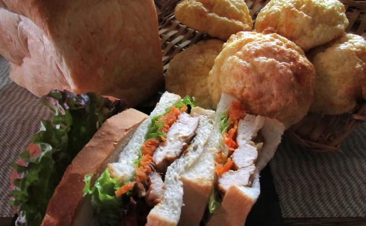 定番!ふんわりメロンパン&手捏ねイギリスパンでサンドウィッチ