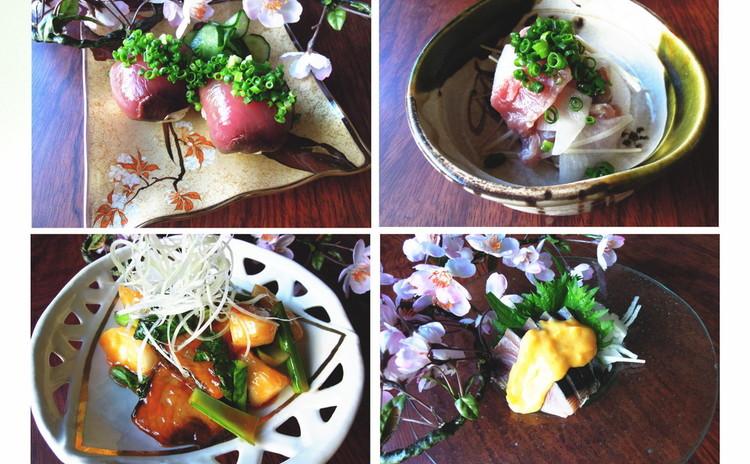 初ガツオ一尾丸ごと食べつくす!刺身・寿司・唐揚げ・酢の物など。