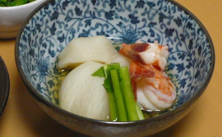 煮魚 海老とカブの炊合せ 菜の花辛子和え 豆ごはん あさりの吸い物