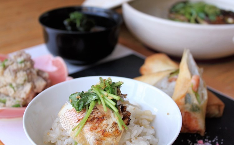 美味なる鯛飯&和風海老春巻!王道常備菜もご一緒に。週末・夜レッスンあり