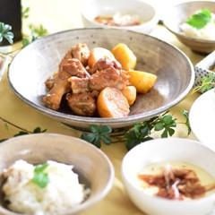 簡単だから何度でも 鯛めし、おぼろ豆腐、手羽中とジャガイモの照り煮等