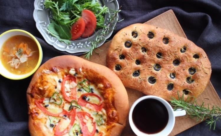 《天然酵母》みんな大好きピザブレッド&華やかフォカッチャ!デザート付!
