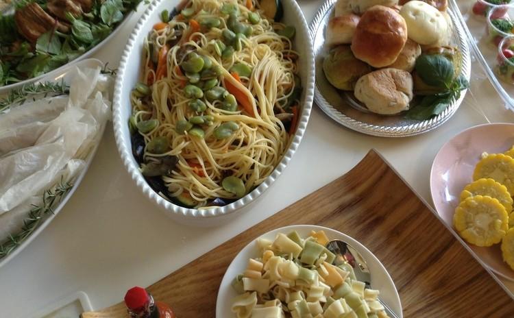 ♪春野菜のパスタ〜ペペロンチーノに春野菜をたっぷり使って大皿に♪