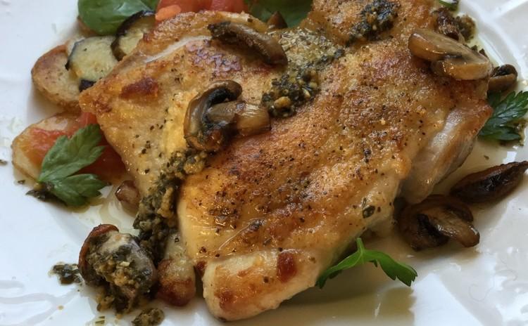 カリッ!鶏もも肉のソテー〜パーティーメニューのメインになる盛り付けで♪