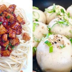 手打ちで作る上海冷麺と上海名物生煎包
