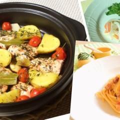 春野菜たっぷりイタリアン♫カルボナーラ、魚のハーブ蒸し